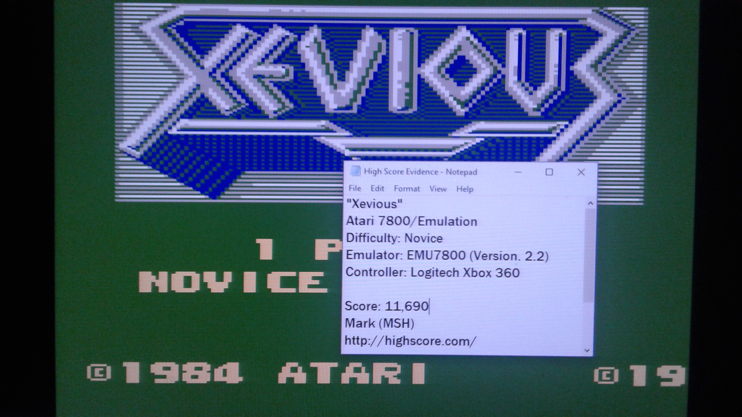 Mark: Xevious: Novice (Atari 7800 Emulated) 11,690 points on 2019-04-17 00:31:33