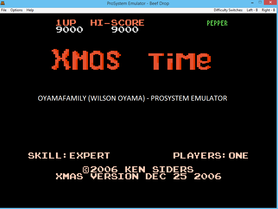 oyamafamily: Xmas Time: Expert (Atari 7800 Emulated) 9,000 points on 2016-12-13 18:09:12