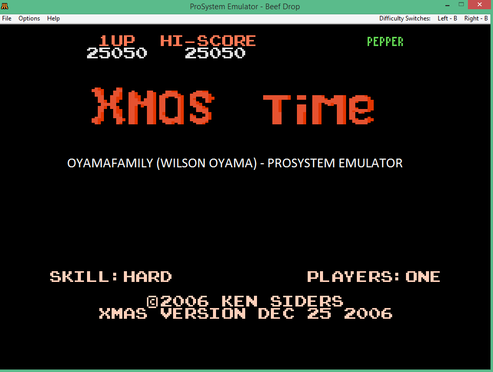 oyamafamily: Xmas Time: Hard (Atari 7800 Emulated) 25,050 points on 2017-01-05 18:03:45
