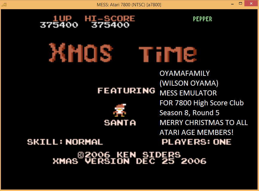 oyamafamily: Xmas Time: Normal (Atari 7800 Emulated) 375,400 points on 2015-12-27 18:33:45