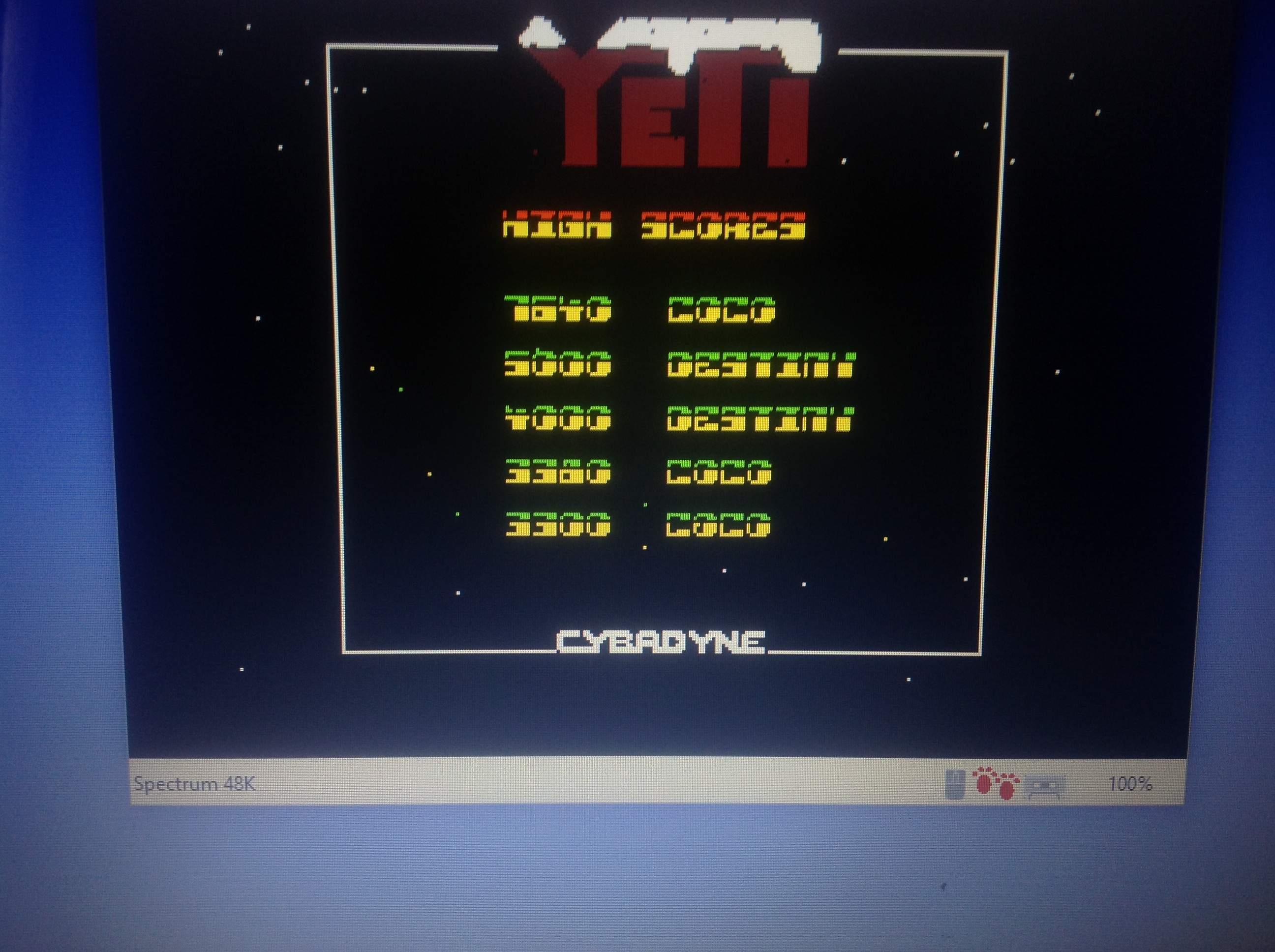 CoCoForest: Yeti (ZX Spectrum Emulated) 7,640 points on 2018-01-18 08:15:58
