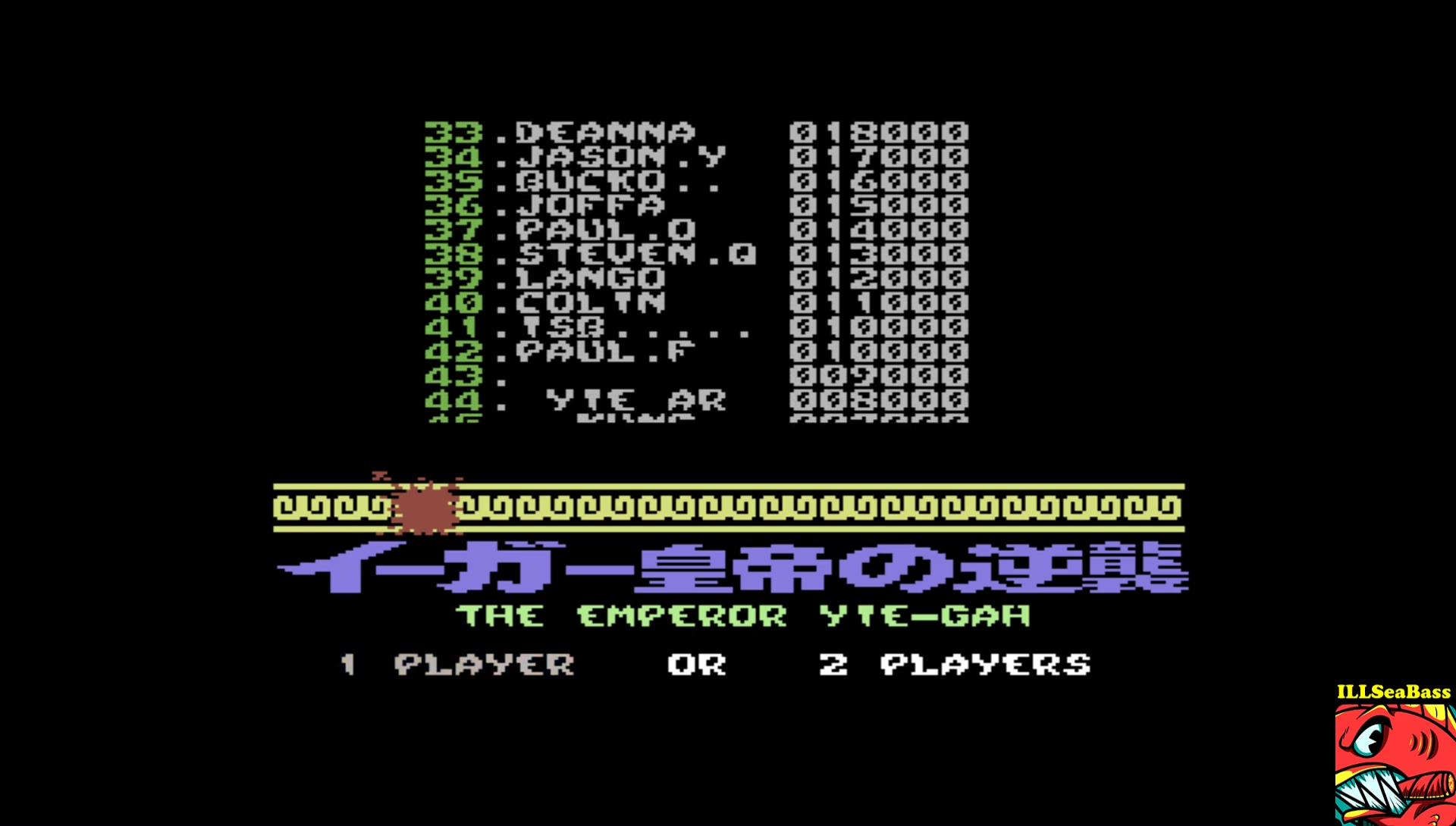 ILLSeaBass: Yie Ar Kung-Fu 2: The Emperor Yie-Gah (Commodore 64 Emulated) 10,000 points on 2017-05-27 10:51:33