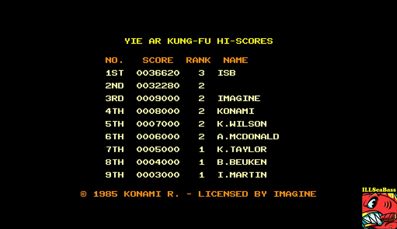 ILLSeaBass: Yie Ar Kung-Fu (Amstrad CPC Emulated) 36,620 points on 2017-01-10 21:54:50