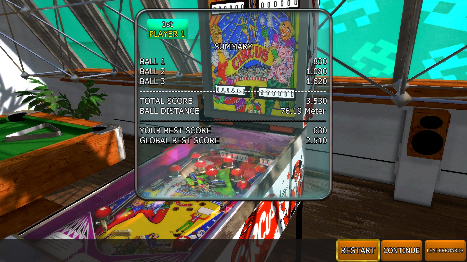 Johnny1981: Zaccaria Pinball: Circus [3 balls] (PC) 3,530 points on 2018-04-11 13:49:02