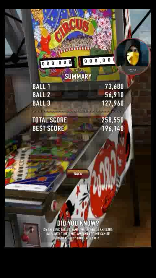 omargeddon: Zaccaria Pinball: Circus (Android) 258,550 points on 2018-04-02 10:50:21