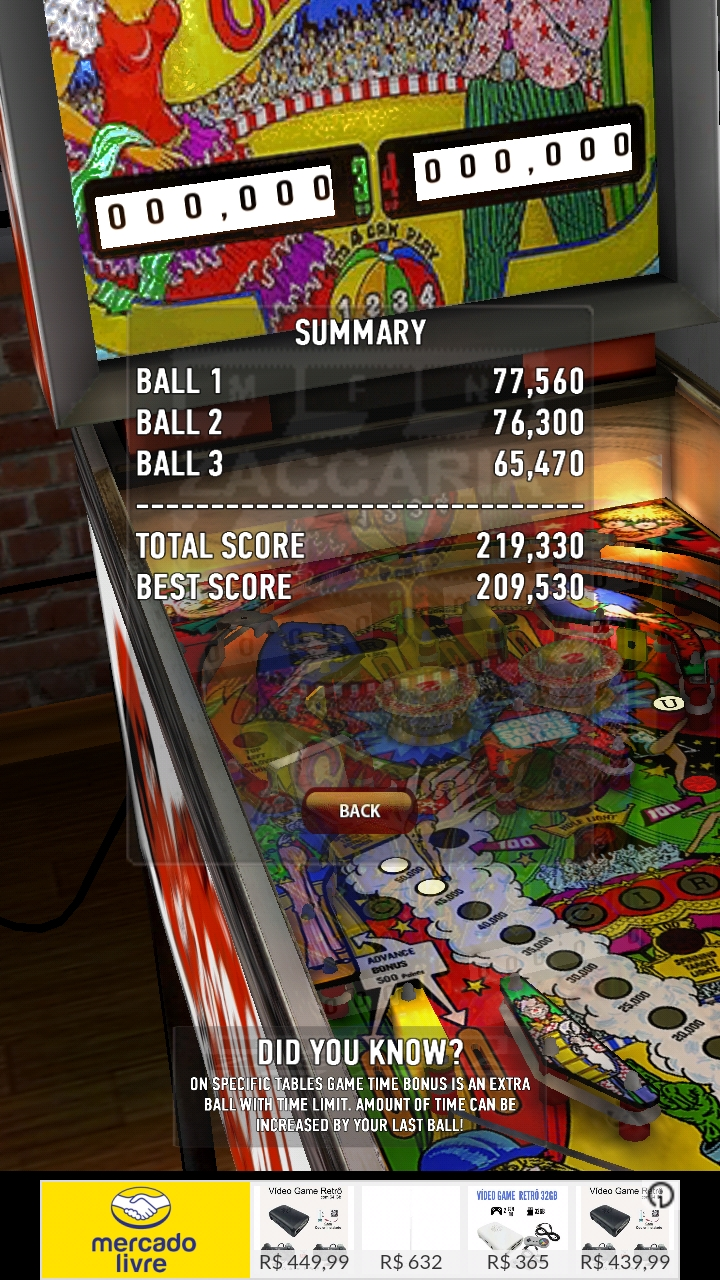Zaccaria Pinball: Circus 219,330 points