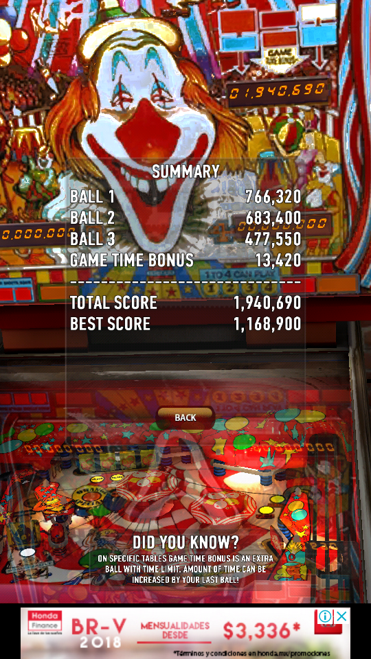 omargeddon: Zaccaria Pinball: Clown (Android) 1,940,690 points on 2018-06-14 21:59:59
