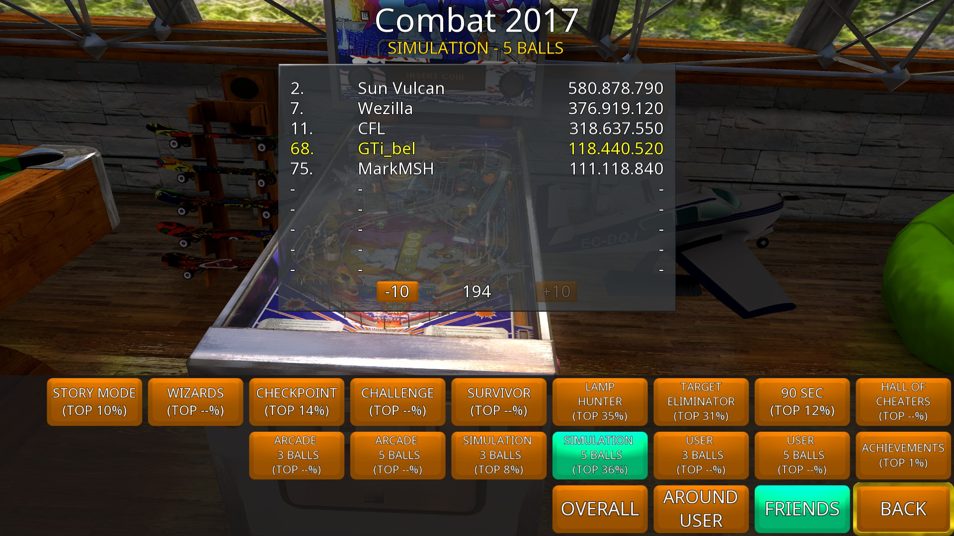 GTibel: Zaccaria Pinball: Combat 2017 [5 balls] (PC) 118,440,520 points on 2018-09-20 07:52:03