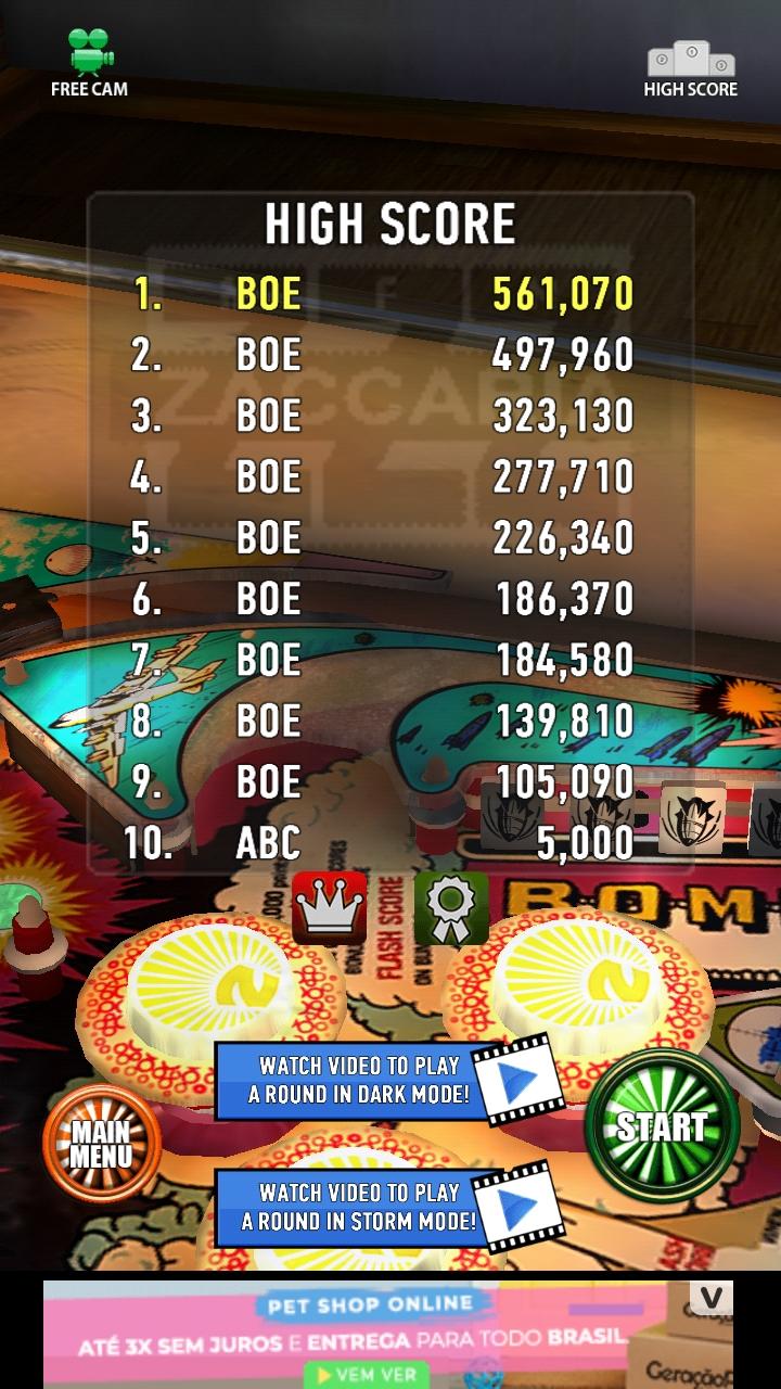 Zaccaria Pinball: Combat 561,070 points