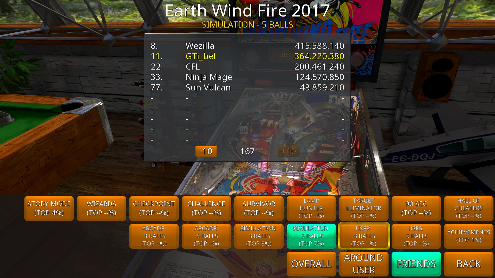 GTibel: Zaccaria Pinball: Earth Wind Fire 2017 [5 balls] (PC) 364,220,380 points on 2018-11-03 06:31:09