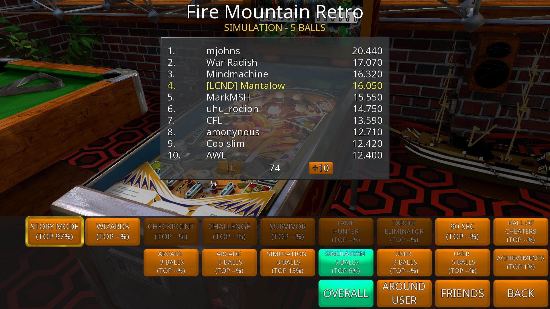 Mantalow: Zaccaria Pinball: Fire Mountain 2018 Retro [5 Balls] (PC) 16,050 points on 2018-09-17 01:44:39