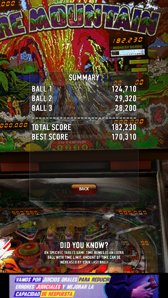 omargeddon: Zaccaria Pinball: Fire Mountain (Android) 182,230 points on 2018-06-03 00:53:17