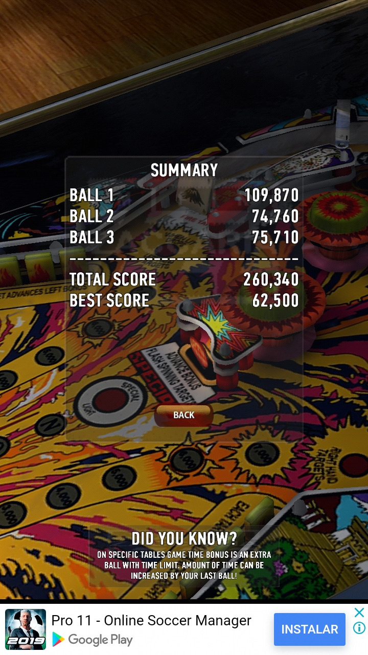 Zaccaria Pinball: Fire Mountain 260,340 points