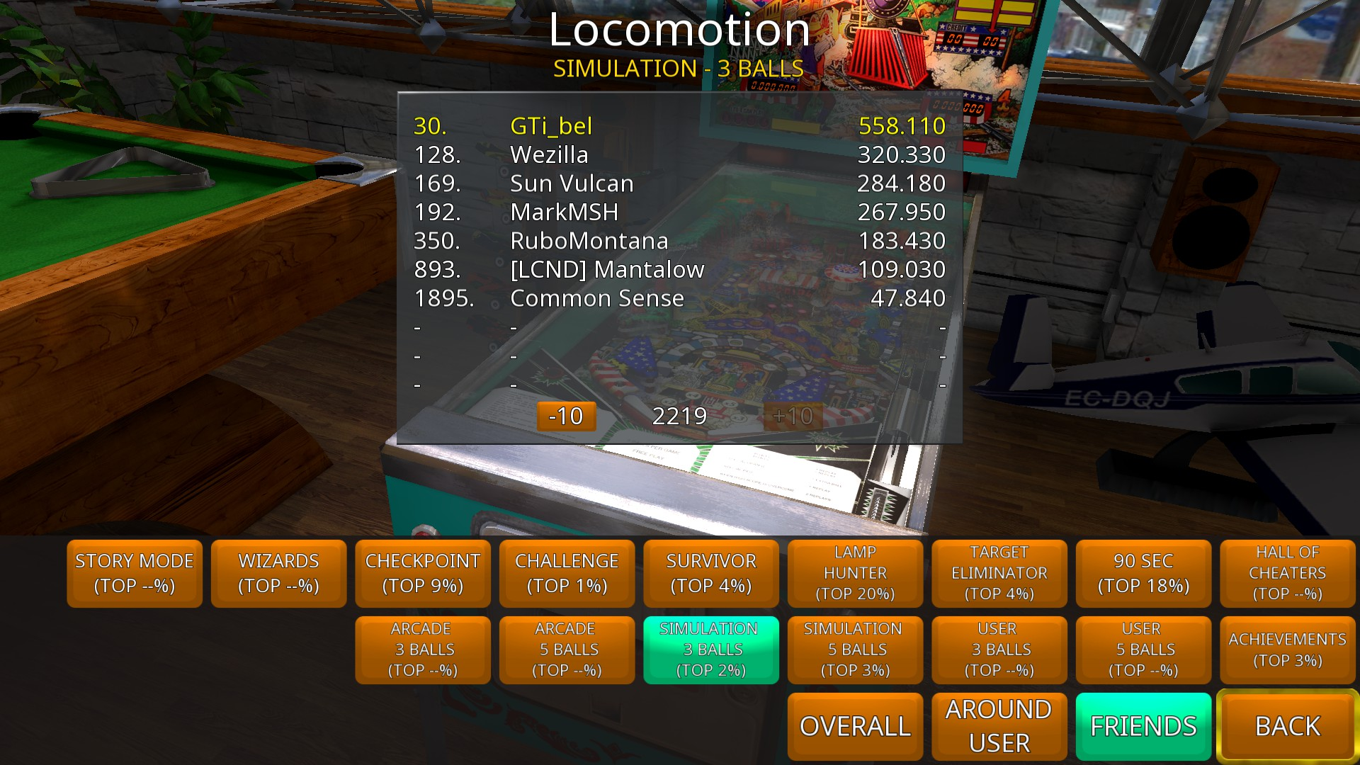 GTibel: Zaccaria Pinball: Locomotion [3 balls] (PC) 558,110 points on 2018-08-11 05:17:57