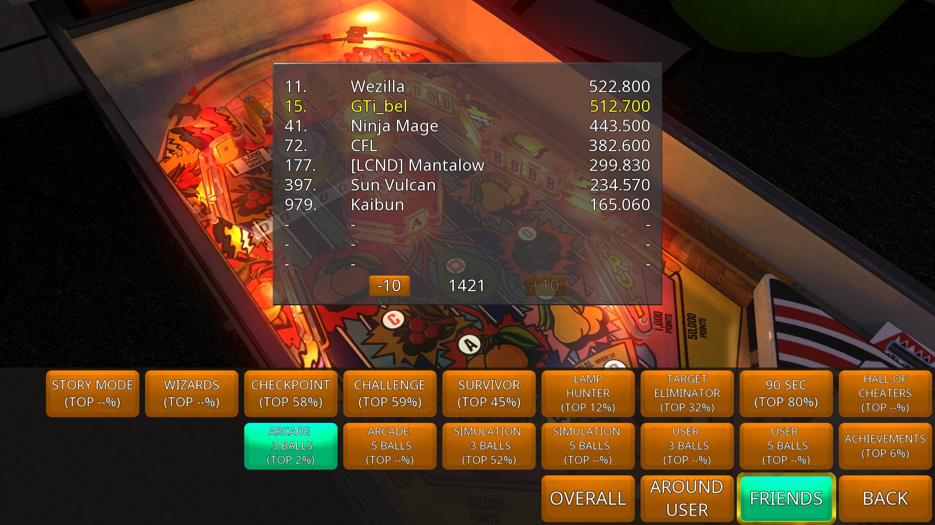 GTibel: Zaccaria Pinball: Lucky Fruit [3 balls] (PC) 512,700 points on 2018-07-27 10:10:23