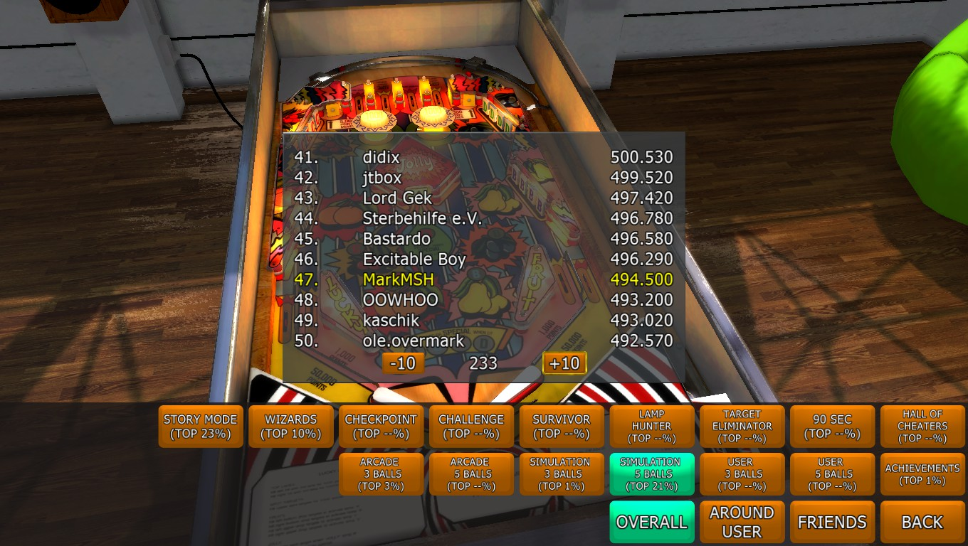 Mark: Zaccaria Pinball: Lucky Fruits [5 balls] (PC) 494,500 points on 2018-04-22 03:15:26
