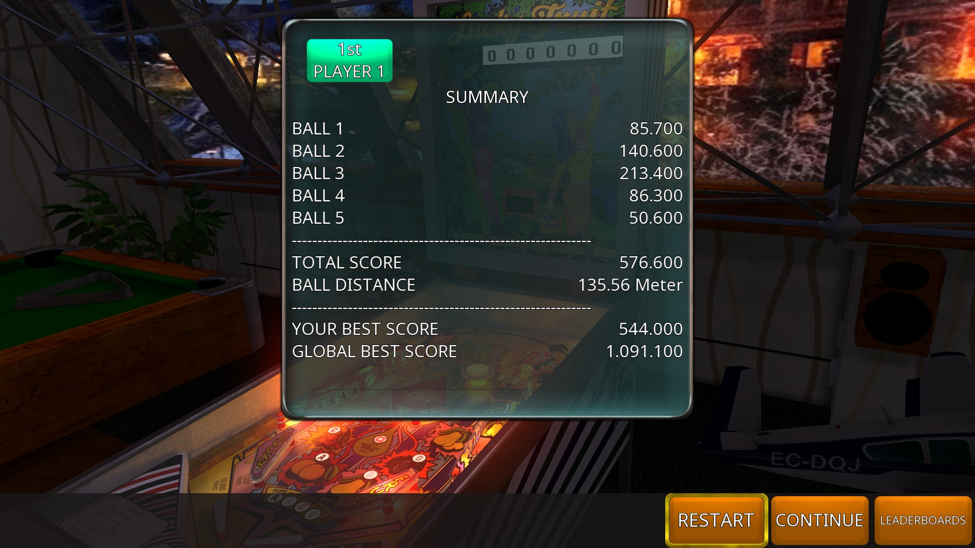 GTibel: Zaccaria Pinball: Lucky Fruits [5 balls] (PC) 576,600 points on 2018-07-27 11:25:49