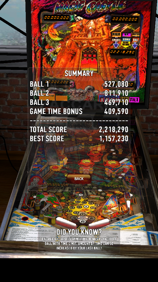 omargeddon: Zaccaria Pinball: Magic Castle (Android) 2,218,290 points on 2018-06-06 22:49:00