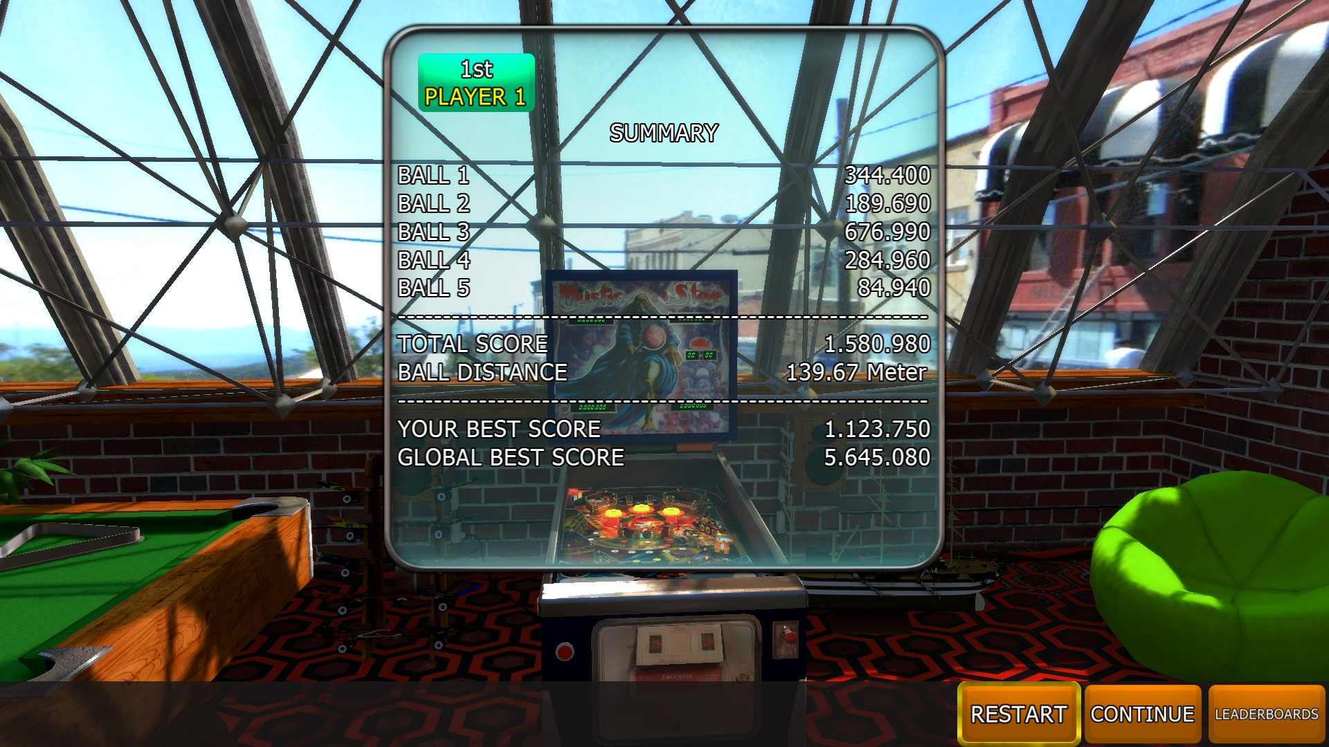 Mantalow: Zaccaria Pinball: Mystic Star [5 balls] (PC) 1,580,980 points on 2018-04-24 04:36:43