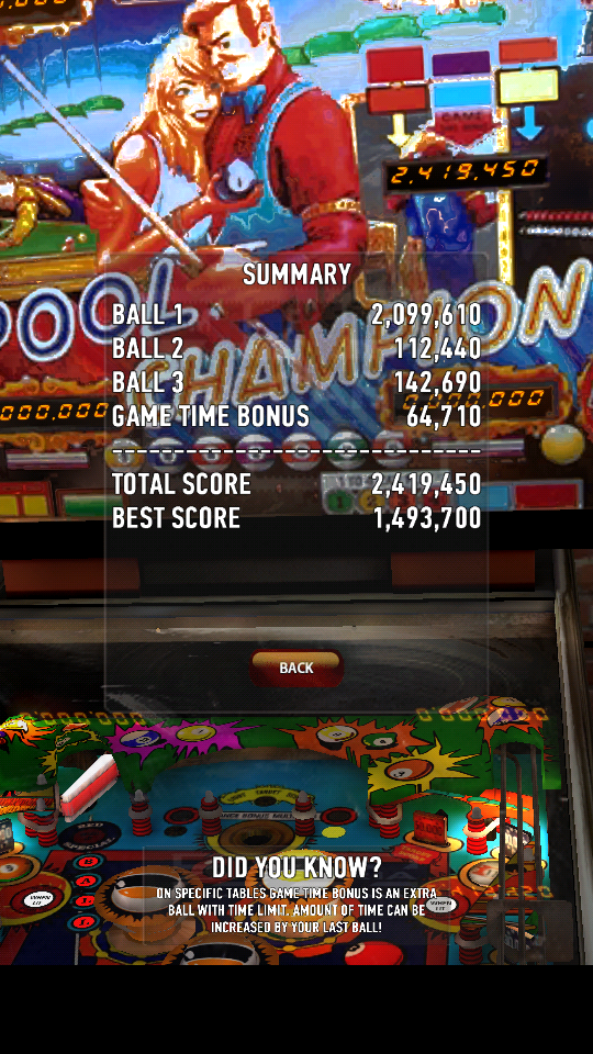omargeddon: Zaccaria Pinball: Pool Champion (Android) 2,419,450 points on 2018-06-02 20:29:41