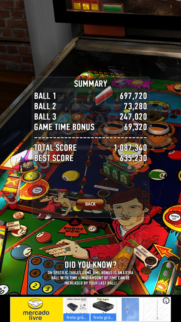 Zaccaria Pinball: Pool Champion 1,087,340 points