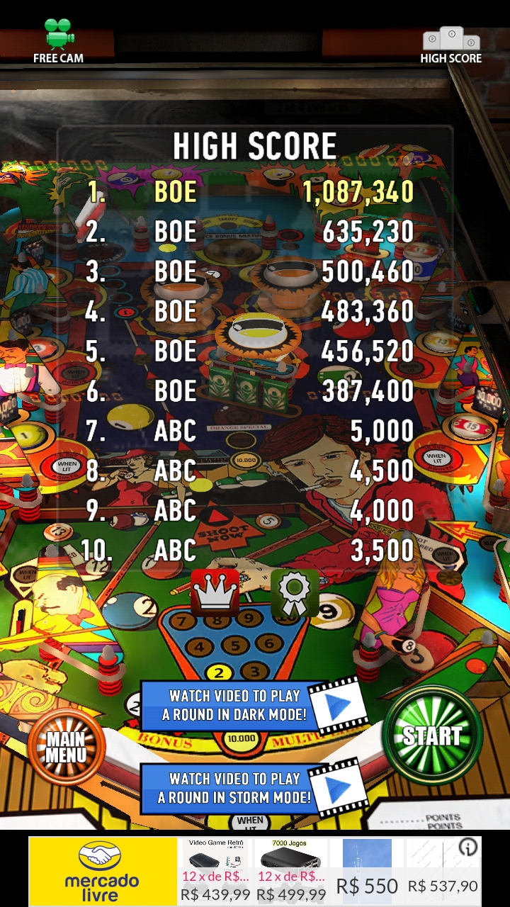 Boegas: Zaccaria Pinball: Pool Champion (Android) 1,087,340 points on 2018-12-14 09:43:01