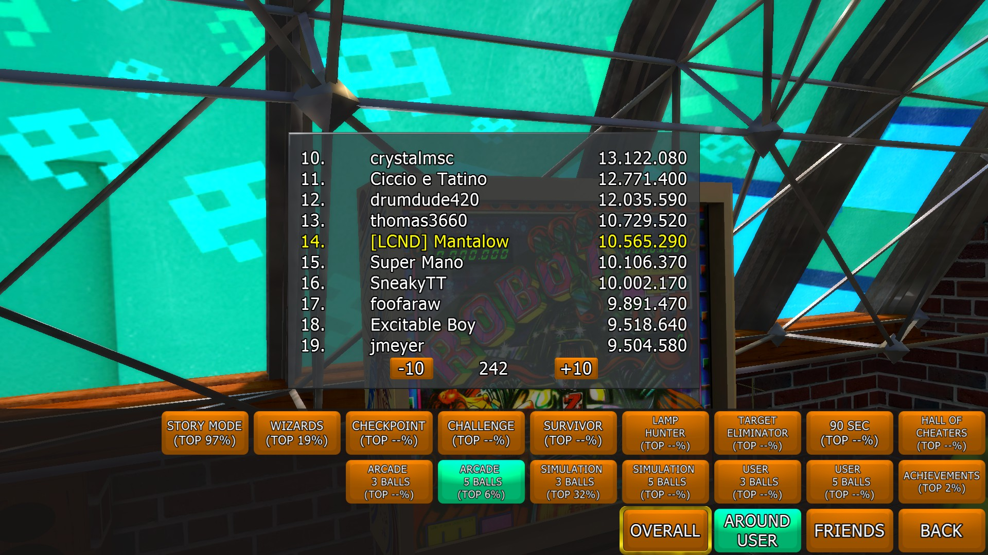 Zaccaria Pinball: Robot [5 balls] 10,565,290 points