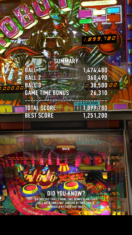 omargeddon: Zaccaria Pinball: Robot (Android) 1,899,780 points on 2018-08-09 22:21:55