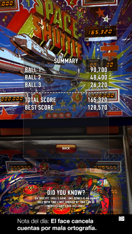 omargeddon: Zaccaria Pinball: Space Shuttle (Android) 165,320 points on 2018-06-14 23:20:23