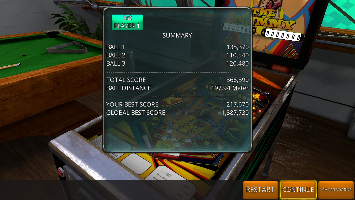 Mark: Zaccaria Pinball: The Mummy [3 balls] (PC) 366,390 points on 2018-07-20 03:09:30