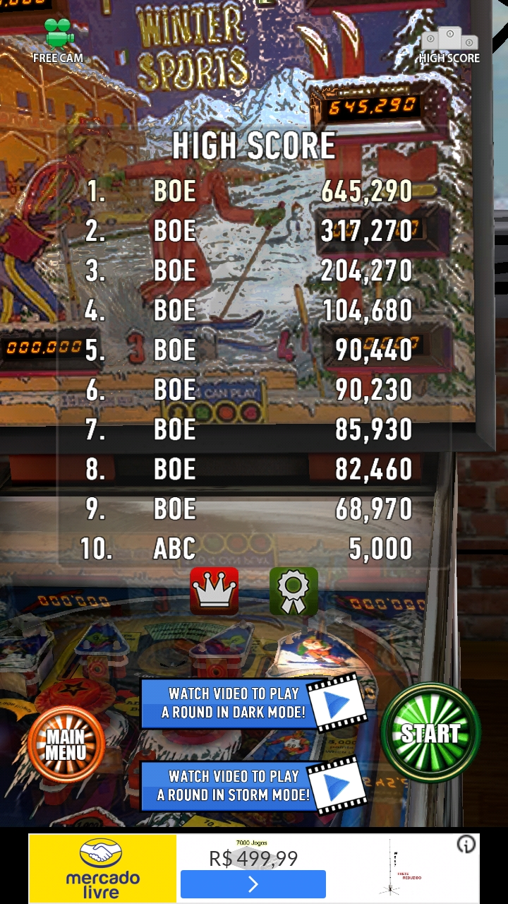 Zaccaria Pinball: Winter Sports 645,290 points