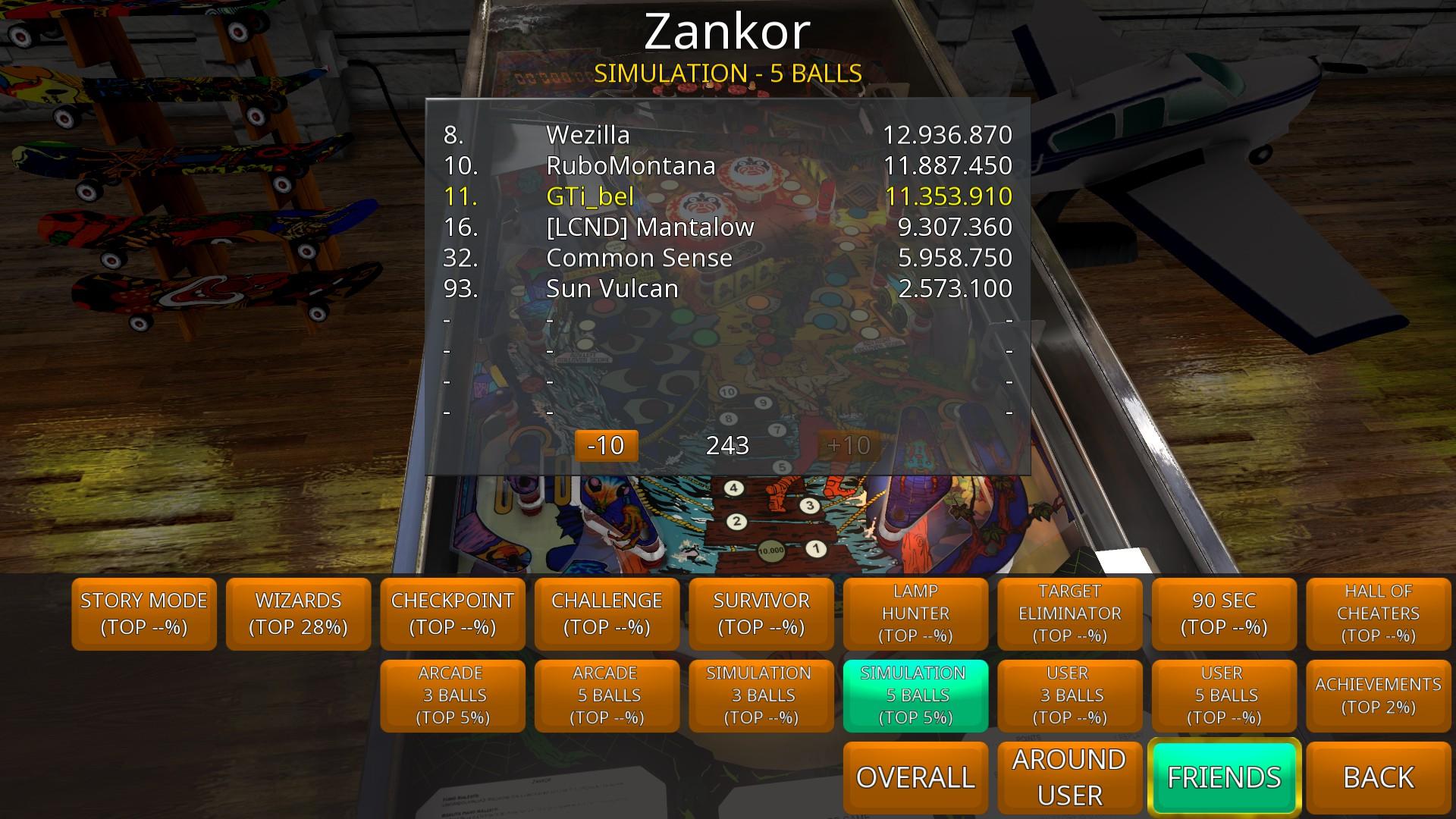 GTibel: Zaccaria Pinball: Zankor [5 balls] (PC) 11,353,910 points on 2018-08-13 12:08:20