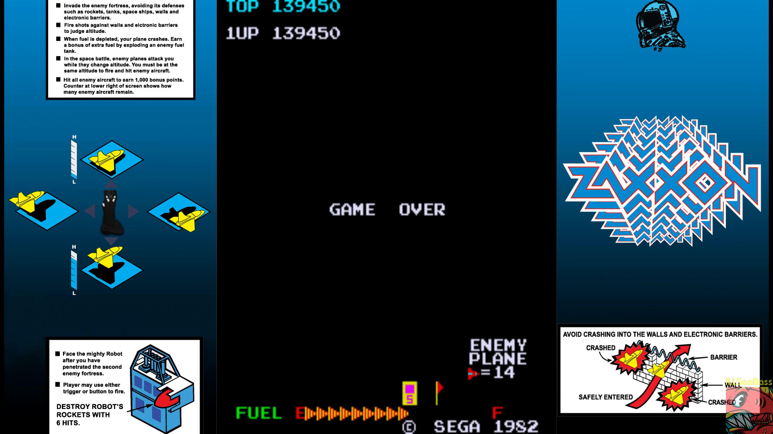 ILLSeaBass: Zaxxon (Arcade Emulated / M.A.M.E.) 139,450 points on 2019-10-03 22:07:19