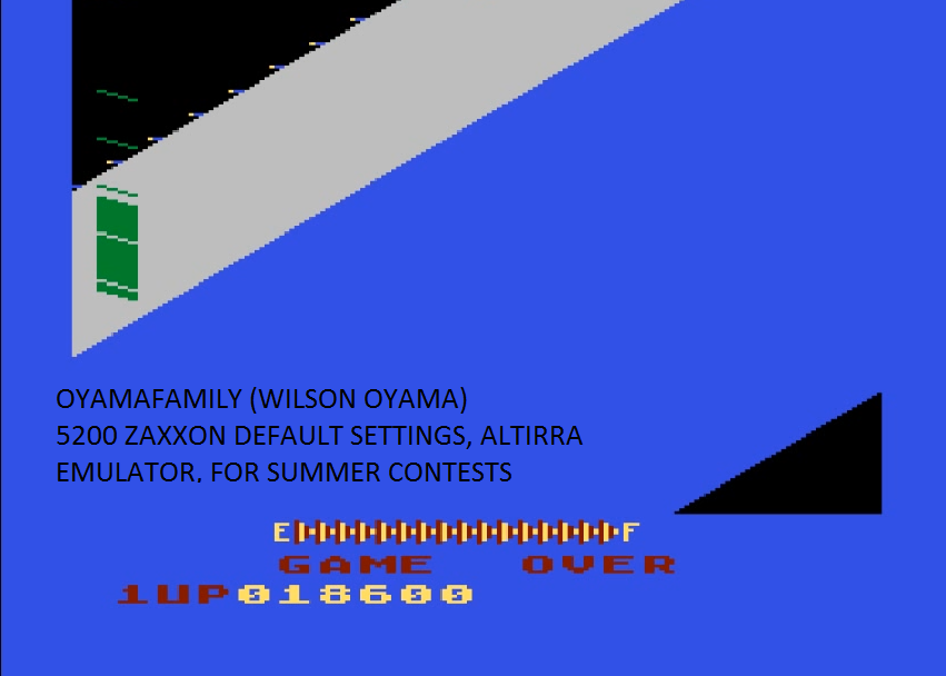 oyamafamily: Zaxxon (Atari 5200 Emulated) 18,600 points on 2016-07-31 16:09:53