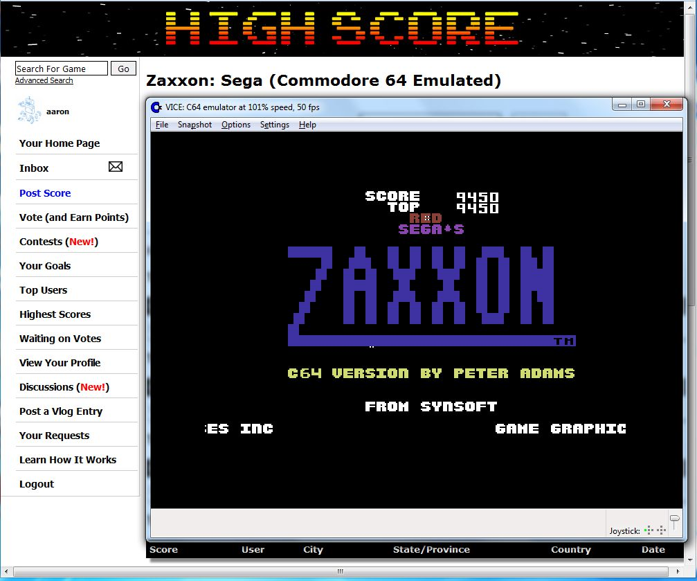 aaron: Zaxxon: Sega (Commodore 64 Emulated) 9,450 points on 2016-06-05 13:32:48