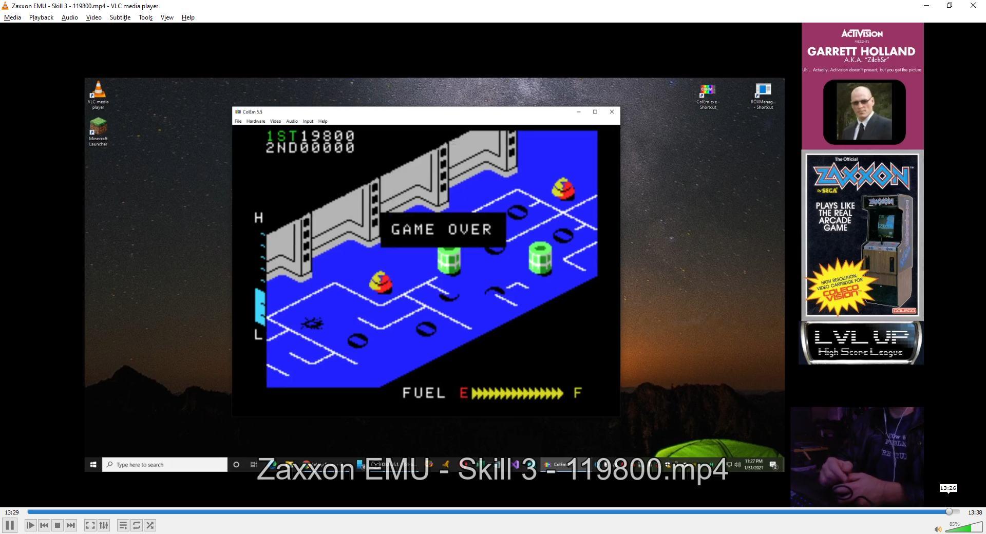 ZilchSr: Zaxxon: Skill 3 (Colecovision Emulated) 119,800 points on 2021-02-13 17:42:59
