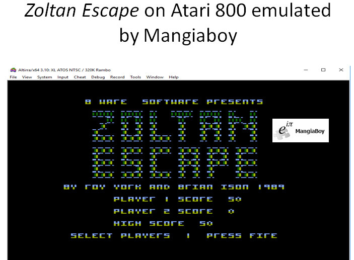 MangiaBoy: Zoltan Escape (Atari 400/800/XL/XE Emulated) 50 points on 2018-12-25 21:39:02