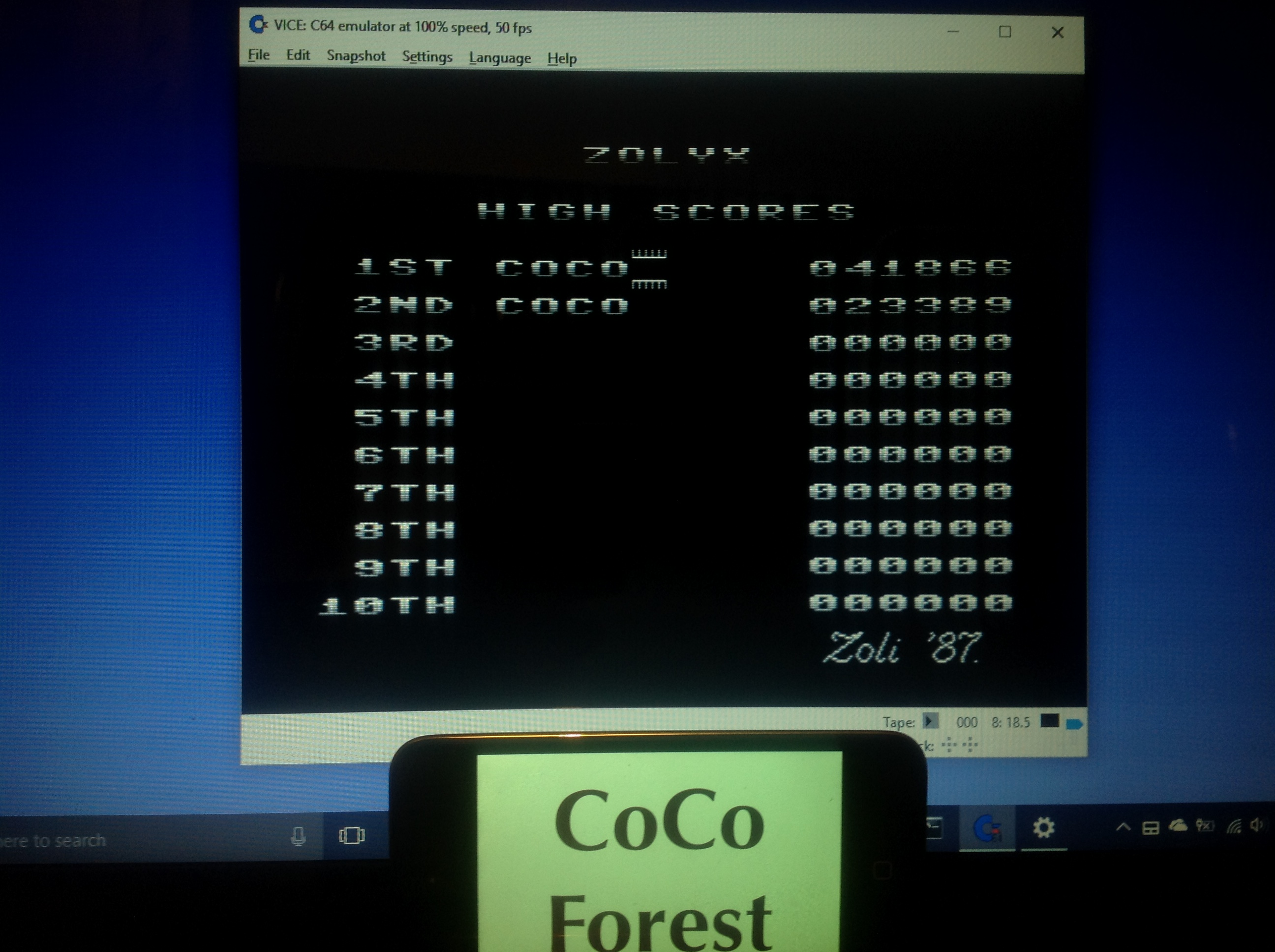 CoCoForest: Zolyx (Commodore 64 Emulated) 41,866 points on 2018-01-23 14:45:51