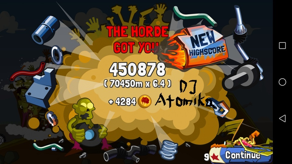 DJAtomika: Zombie Road Trip (Android) 450,878 points on 2018-05-08 14:46:08