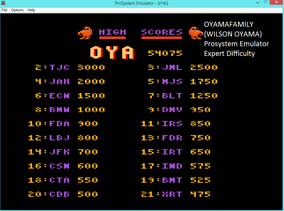 oyamafamily: b*nQ: Expert (Atari 7800 Emulated) 54,075 points on 2016-03-07 19:19:27