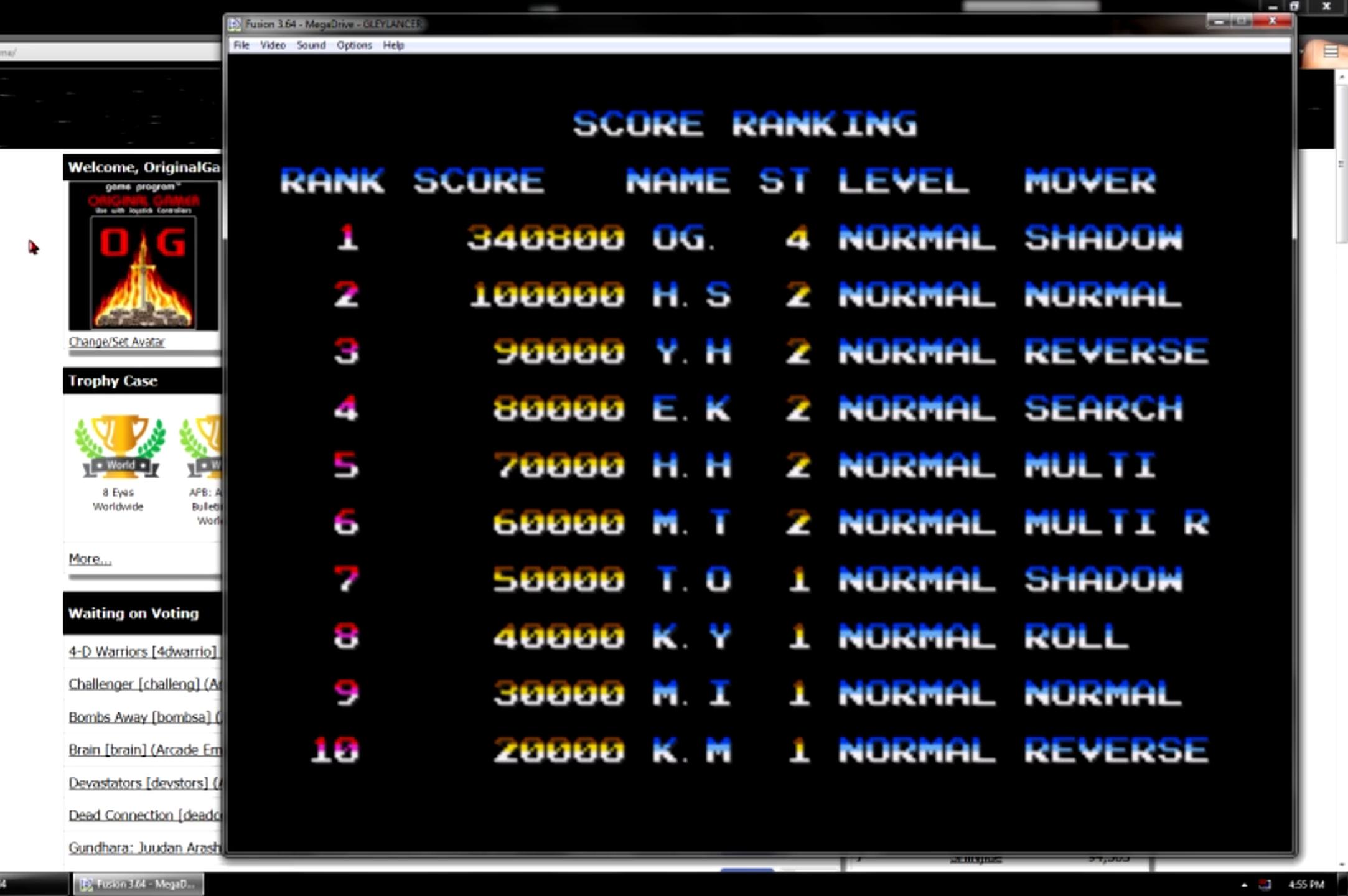 OriginalGamer: Gleylancer [Normal] (Sega Genesis / MegaDrive Emulated) 340,800 points on 2015-06-22 22:59:44