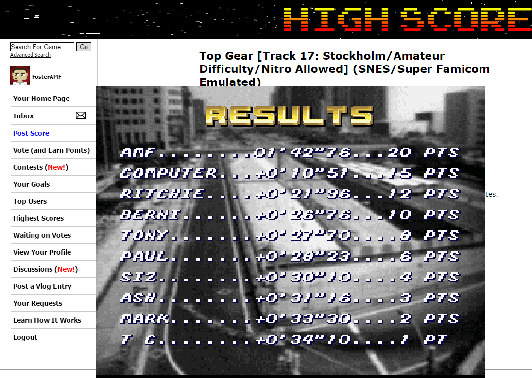 FosterAMF: Top Gear [Track 17: Stockholm/Amateur Difficulty/Nitro Allowed] (SNES/Super Famicom Emulated) 0:01:42.76 points on 2015-06-24 01:36:09