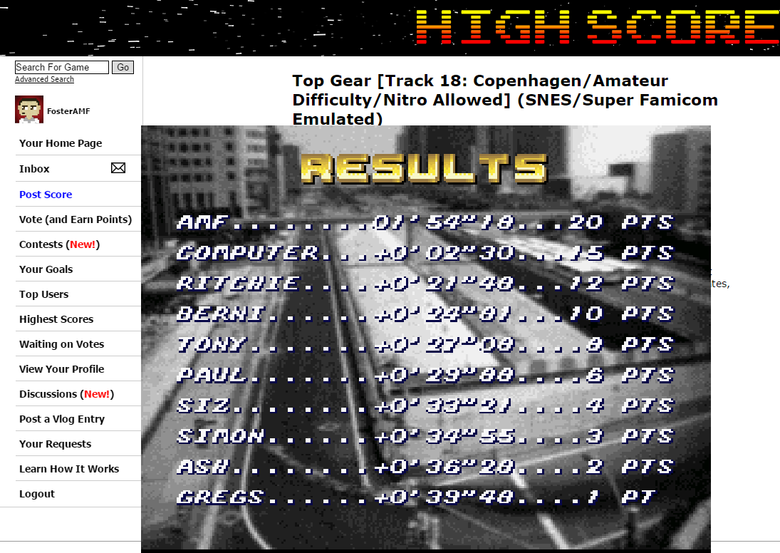 FosterAMF: Top Gear [Track 18: Copenhagen/Amateur Difficulty/Nitro Allowed] (SNES/Super Famicom Emulated) 0:01:54.18 points on 2015-06-24 01:44:53