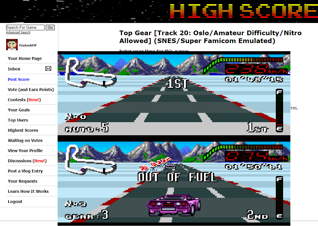 FosterAMF: Top Gear [Track 20: Oslo/Amateur Difficulty/Nitro Allowed] (SNES/Super Famicom Emulated) 0:01:48.15 points on 2015-06-24 02:04:39