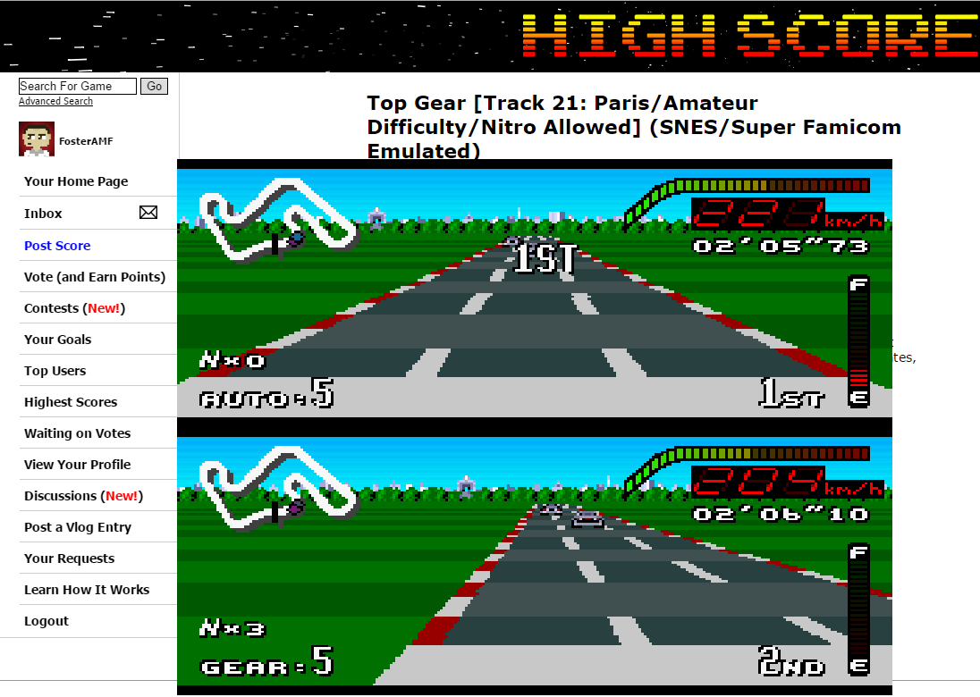 FosterAMF: Top Gear [Track 21: Paris/Amateur Difficulty/Nitro Allowed] (SNES/Super Famicom Emulated) 0:02:05.73 points on 2015-06-24 19:23:39