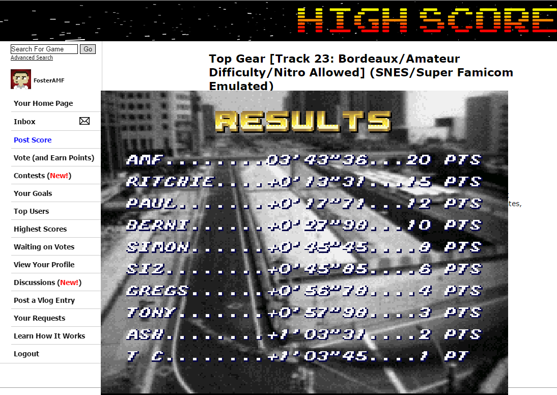 FosterAMF: Top Gear [Track 23: Bordeaux/Amateur Difficulty/Nitro Allowed] (SNES/Super Famicom Emulated) 0:03:43.36 points on 2015-06-24 20:03:58