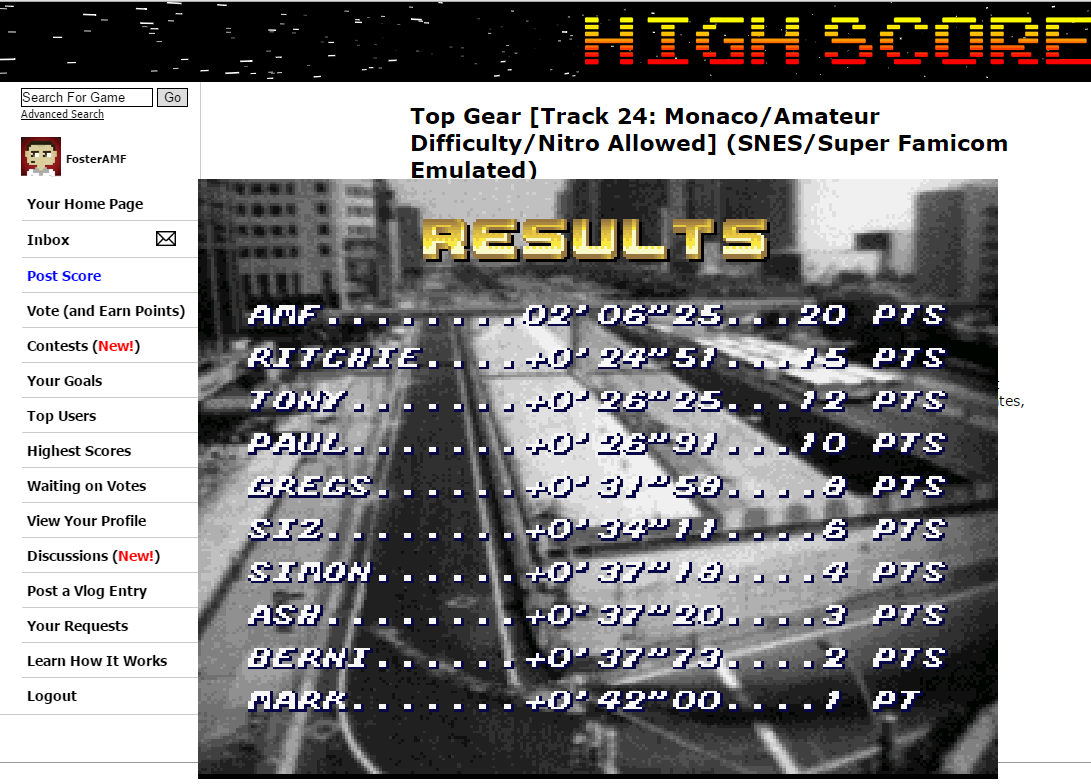 FosterAMF: Top Gear [Track 24: Monaco/Amateur Difficulty/Nitro Allowed] (SNES/Super Famicom Emulated) 0:02:06.25 points on 2015-06-24 20:11:33