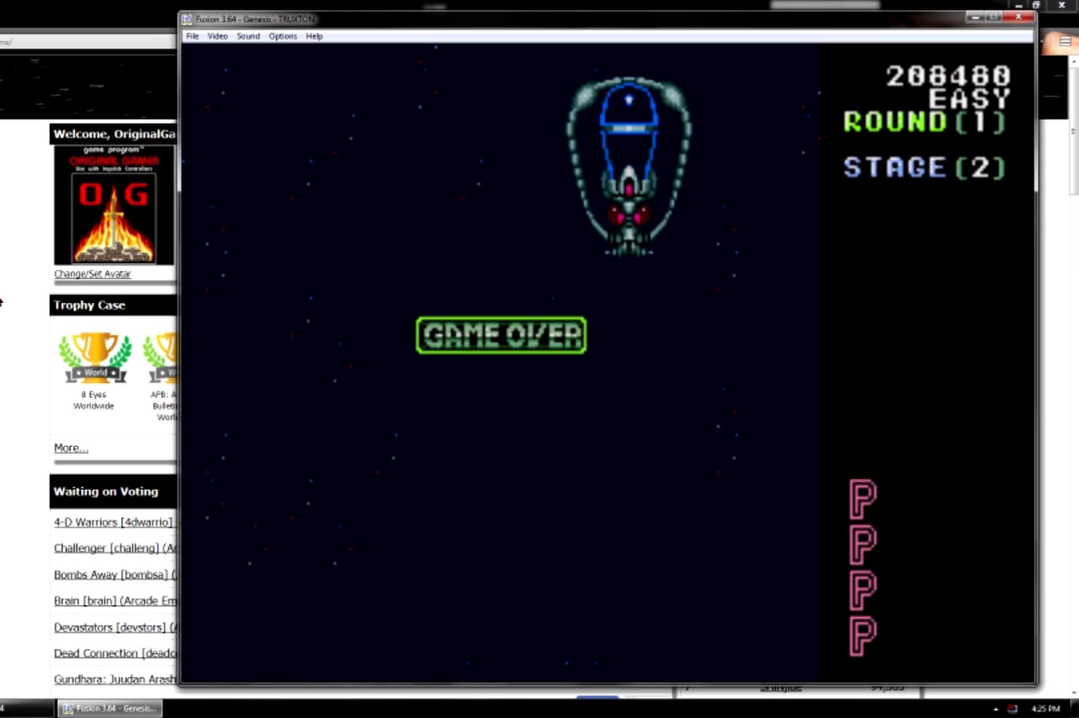 OriginalGamer: Truxton: Easy (Sega Genesis / MegaDrive Emulated) 208,480 points on 2015-06-25 05:04:42