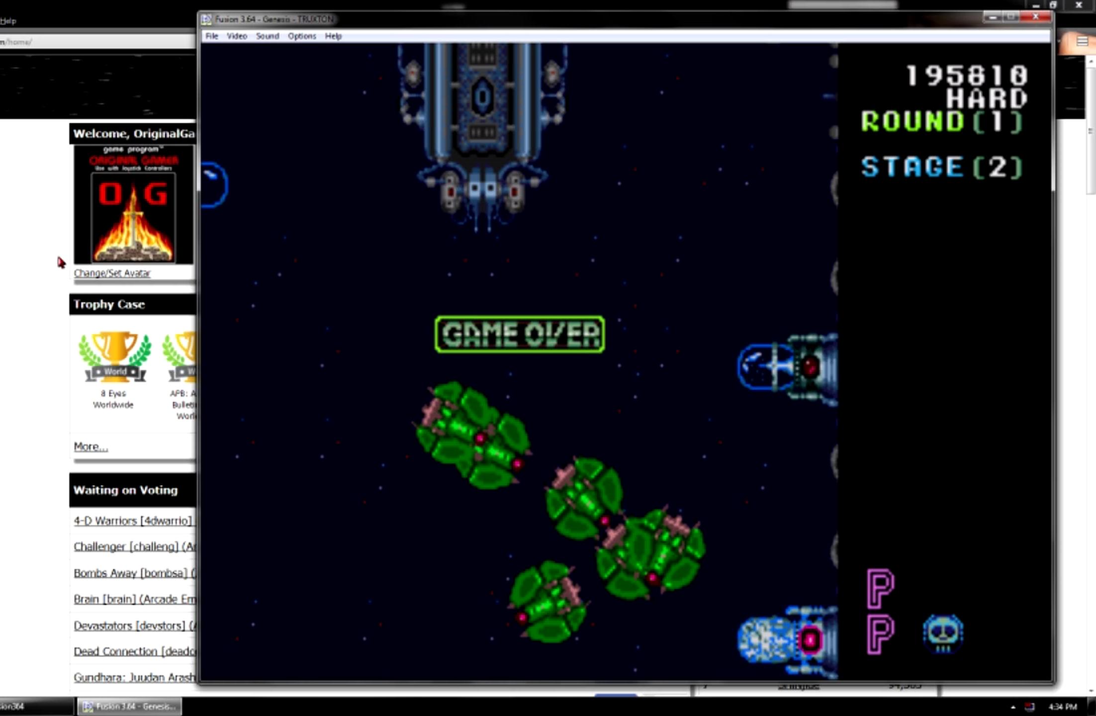 OriginalGamer: Truxton: Hard (Sega Genesis / MegaDrive Emulated) 195,810 points on 2015-06-25 05:05:54