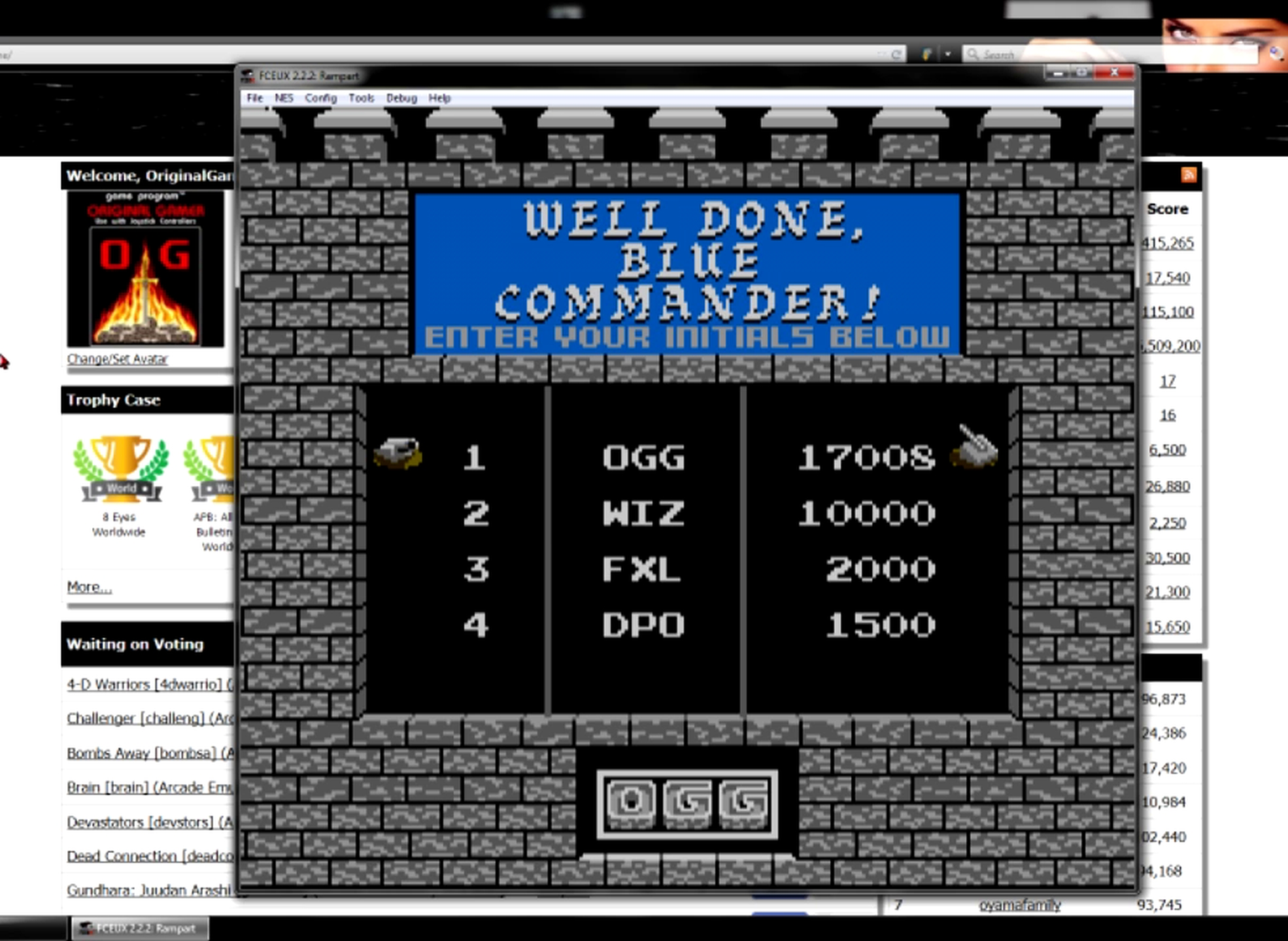 OriginalGamer: Rampart [Easy] (NES/Famicom Emulated) 17,008 points on 2015-06-25 22:15:45